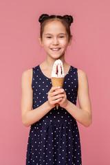 Little girl enjoying big ice cream cone