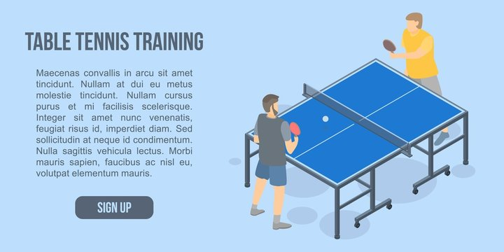 Table tennis training concept banner. Isometric illustration of table tennis training vector concept banner for web design