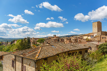 View of the rooftops in an old Italian town