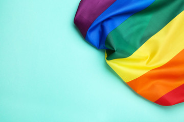 Rainbow flag on blue background