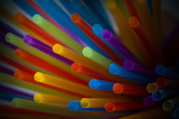 Wall Mural - colorful straws background, cocktail tubes. Shallow DOF
