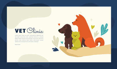 Design for vet clinic, pet care, medicine, veterinary hospital. Vector illustration with healthy dogs and cat for banner, leaflet, brochure, flyer, landing page layout, presentation, blog post.