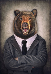 Bear in clothes. Man with a head of an tiger. Concept graphic in vintage style with soft oil painting style.