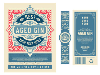 Vintage label with gin liquor design Wall mural