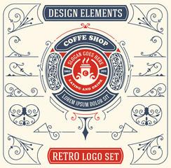 Vintage coffee logo with baroque ornaments set