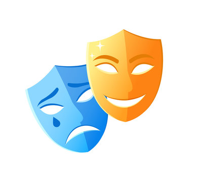 Theatre mask crying and smiling, emotion icons on white, character objects sad and happy, masquerade decorations laugh and disorder, pantomime vector