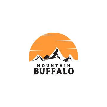 Mountain buffalo logo icon design vector template