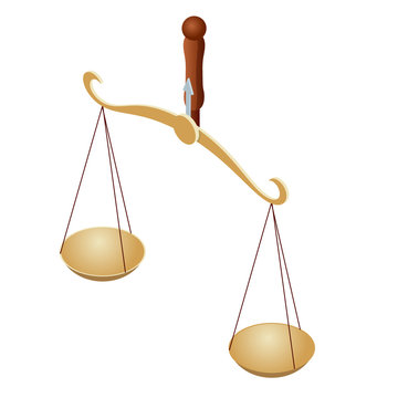 Isometric symbol of law and justice, law and justice, legal, jurisprudence. Libra. Bowls of scales in balance, an imbalance of scales.