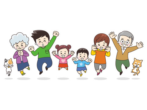 笑顔でジャンプする家族