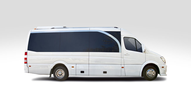 Small luxury white bus isolated on white