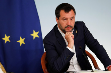 Italian PM Conte and Deputy PMs di Maio and Salvini hold a joint news conference in Rome