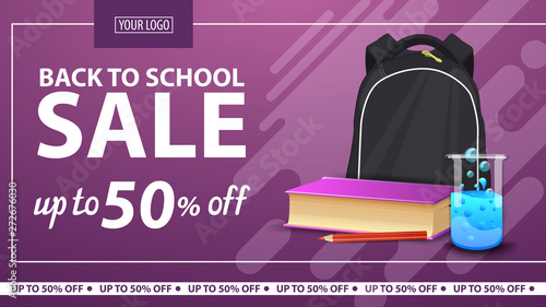 Back to school, discount horizontal web banner for online