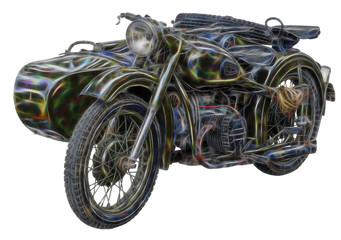 fractal picture of old motorcycle on white