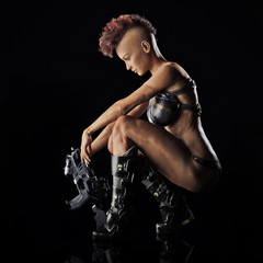 Side portrait of a futuristic sexy sci fi warrior female posing on a reflective surface and black background. 3d rendering
