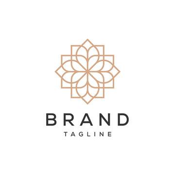 mandala ornament flower vector logo design template