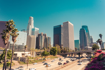 Panoramic view on downtown of Los Angeles over route 110