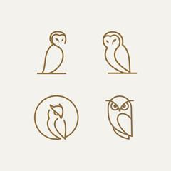 simple line owl vector logo design template