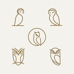 Poster Owls cartoon simple line owl vector logo design template