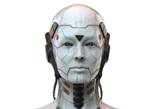 Robot woman, sci-fi android female  artificial intelligence 3d render