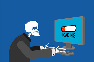 Skeleton and PC long loading. Slow work computer froze vector illustration