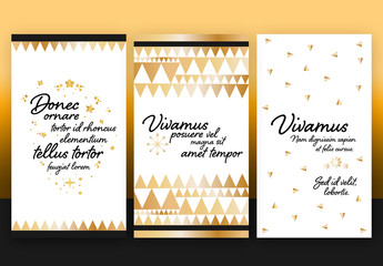 Social Media Story Layouts with Gold Elements