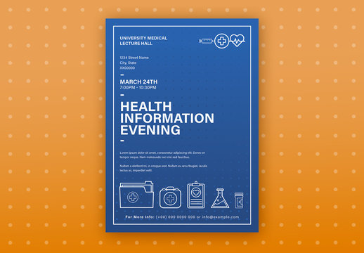 Blue Health Event Poster Layout with Graphic Icons