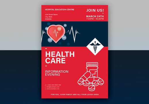Red Health Event Poster Layout with Graphic Icons