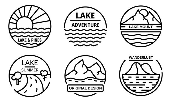 Lake logo set. Outline set of lake vector logo for web design isolated on white background