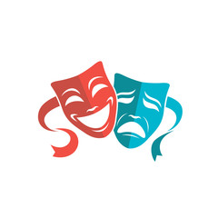 illustration of comedy and tragedy theatrical masks isolated