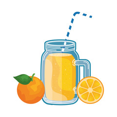 juice orange fruit beverage jar with straw