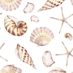 Sea shells, seamless pattern, marine background. Watercolor tropical beach design. Repeat fabric wallpaper print texture. Perfectly for wrapped paper, backdrop, frame or border. Marine collection.