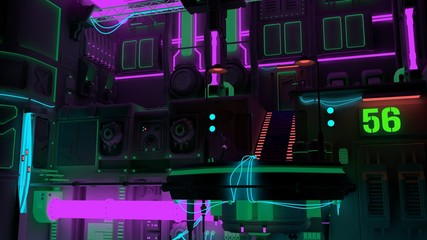 Fotomurales - 3D illustration of a futuristic city in the style of cyberpunk. Beautiful neon night.  Modern techno wallpaper.
