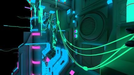 Fotomurales - Bright neon nigth in a futuristic city. 3D illustration in a style of cyberpunk. Modern techno wallpaper. Cyber future.
