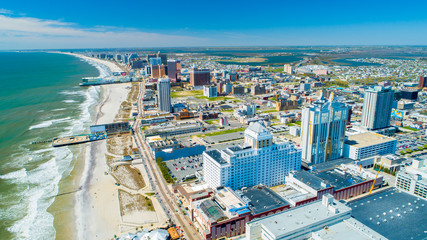 AERIAL VIEW OF ATLANTIC CITY BOARDWALK AND STEEL PIER. NEW JERSEY. USA. Wall mural