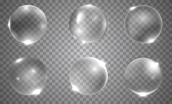 Set of realistic 3d glass ball or sphere isolated on transparent background. Vector illustration.