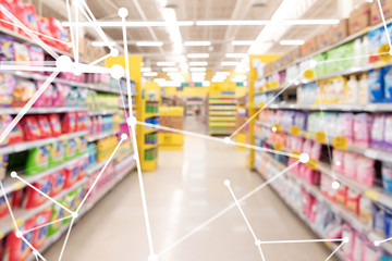 Smart retail , deep learning , neural networks technology and marketing concept. Disruption artificial intelligence atoms connect with retail shop supermarket store background.