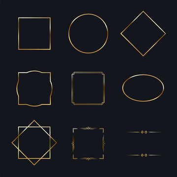 Golden shiny frames with shadows isolated on black background. Vector golden luxury realistic border set.