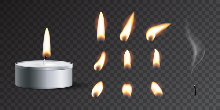 Vector realistic tea candle with fire and candle fire set isolated on transparent background.