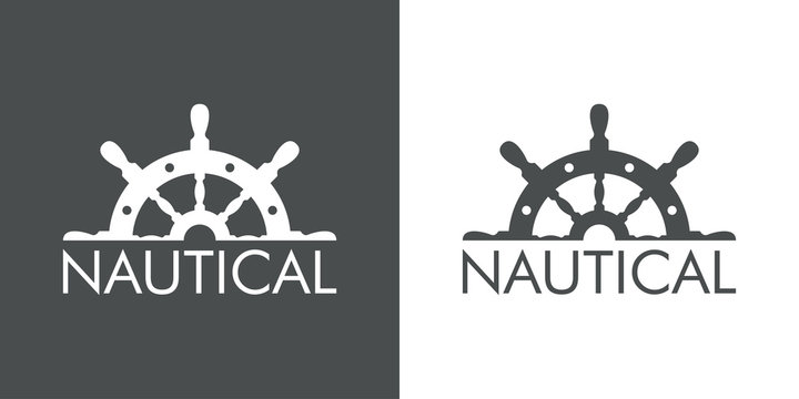 Logotipo abstracto con texto NAUTICAL con medio timón arriba en gris y blanco