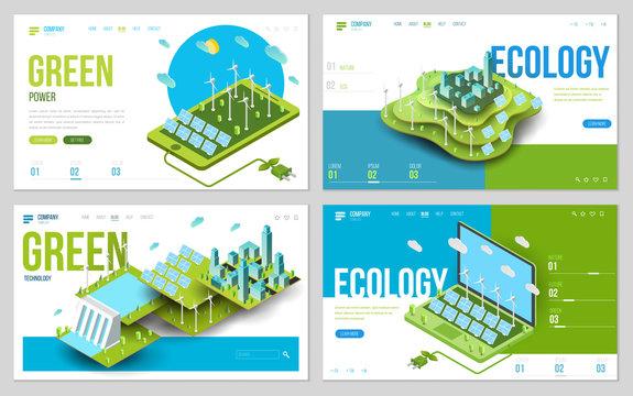 Minimal modern concept of alternative ecology energy source. Set of design web site, landing page or presentation template. Isometric vector illustration.