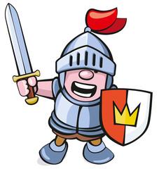 niedlicher Ritter mit Schwert und Schild