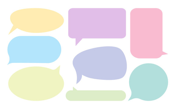 set of color comic speech bubbles in flat