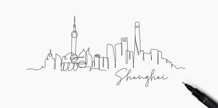 Pen line silhouette Shanghai