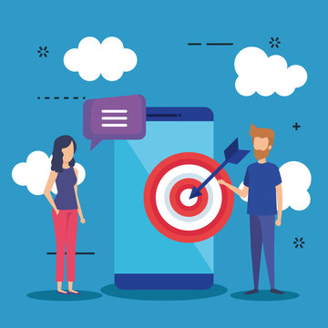 mini people with smartphone and target vector illustration design vector illustrator