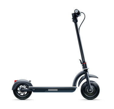 Black scooter. Urban transport. Eco electric vehicle. Street cycle. Isolated on white background. Eps10 vector illustration.