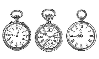 A set of different drawn old pocket watches