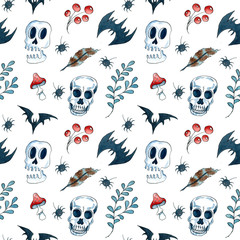 Halloween seamless pattern with scull and bat. Watercolor hand drawn illustration