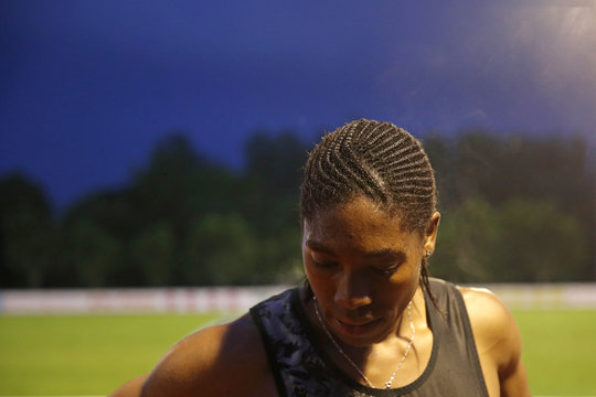 South African athlete Caster Semenya poses after she raced during a 2,000 metres for the first time after her ban in France