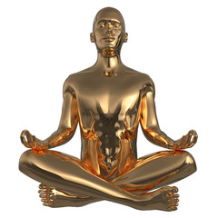 Yoga golden man meditate lotus pose stylized character polished