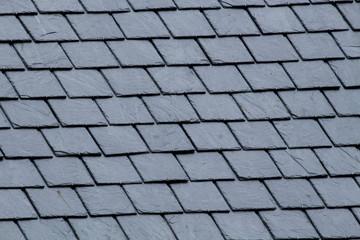 Obraz New slate roof, slate texture, perfect shape. Slating roof. Grey colors. - fototapety do salonu